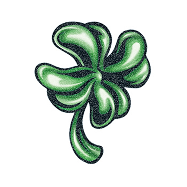 Glitter Detailed Four Leaf Clover Temporary Tattoo
