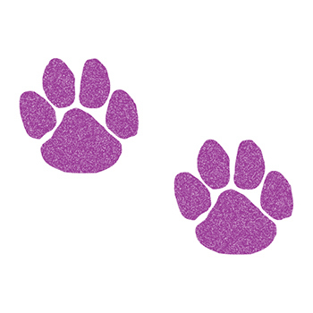 Glitter Purple Paw Prints Temporary Tattoos