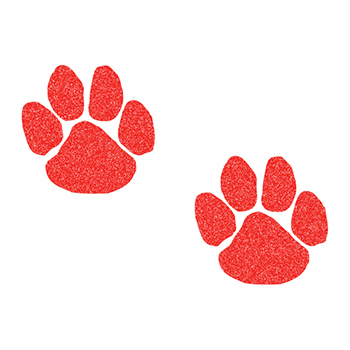 Glitter Red Paw Prints Temporary Tattoos