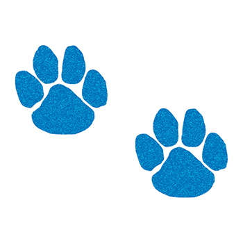 Glitter Blue Paw Prints Temporary Tattoos
