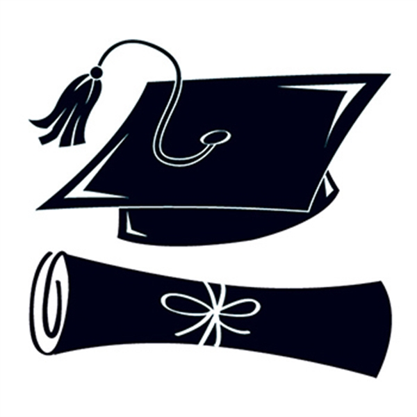 Black Graduation Cap And Scroll Temporary Tattoo Usimprints