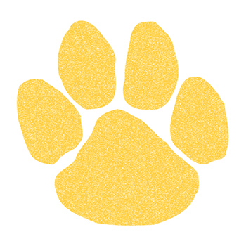 Glitter Yellow Paw Print Temporary Tattoo