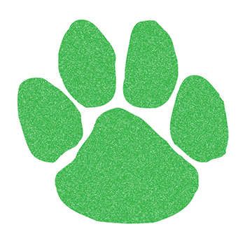 Glitter Green Paw Print Temporary Tattoo