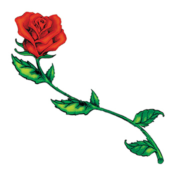 Long Stem Rose Temporary Tattoo