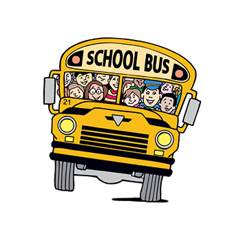 School Bus with Kids Temporary Tattoo