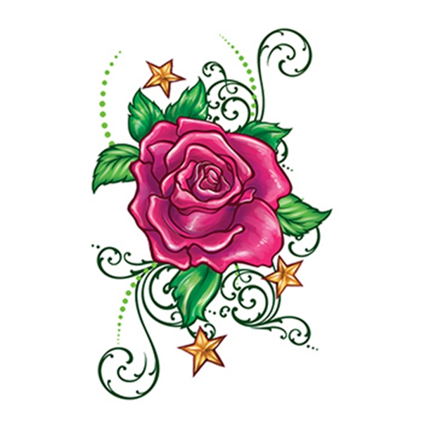 Flirty rose with stars temporary tattoo usimprints - Fleur rose dessin ...