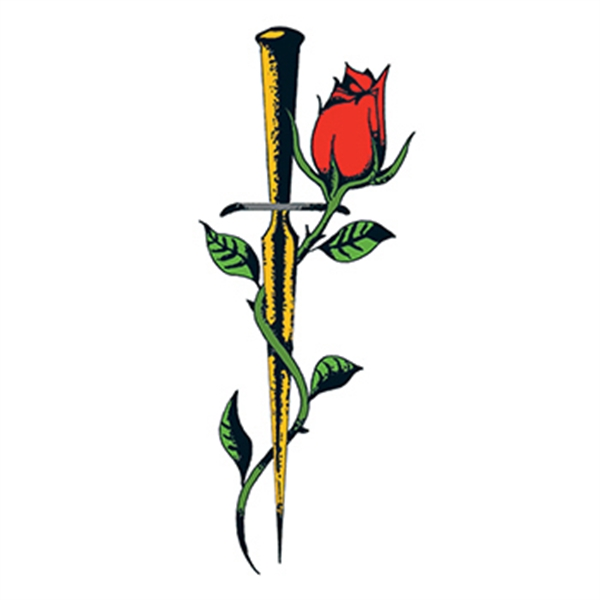 Traditional Rose with Dagger Temporary Tattoo
