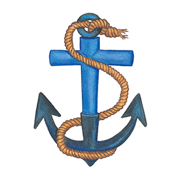 Traditional Anchor with Rope Temporary Tattoo