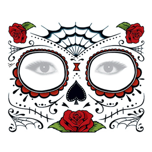 Day of the Dead: Roses Face Temporary Tattoo