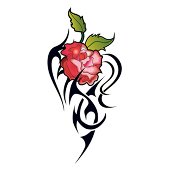 Set of Four Red Tribal Rose Temporary Tattoos