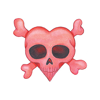 Heart Skull and Crossbones Temporary Tattoo