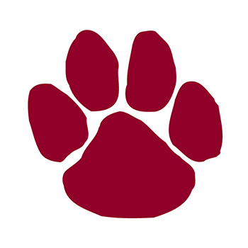 Maroon Paw Print Temporary Tattoo
