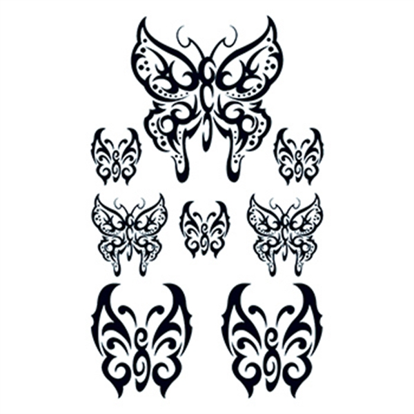 Set of Tribal Butterfly Temporary Tattoos