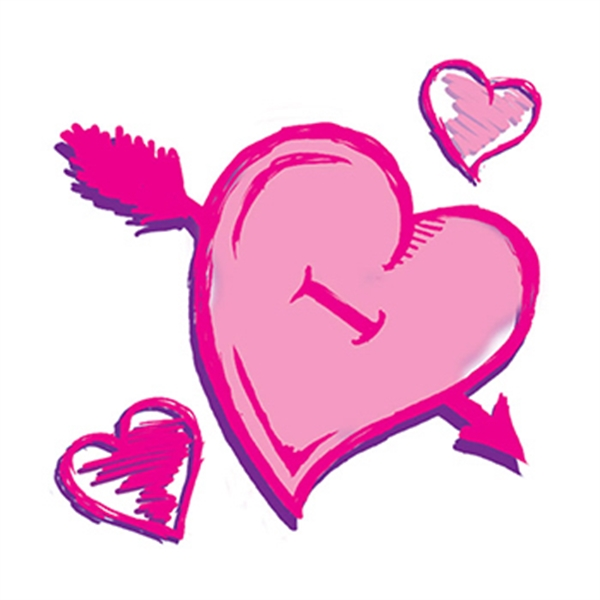 Pink Valentines Hearts Temporary Tattoo