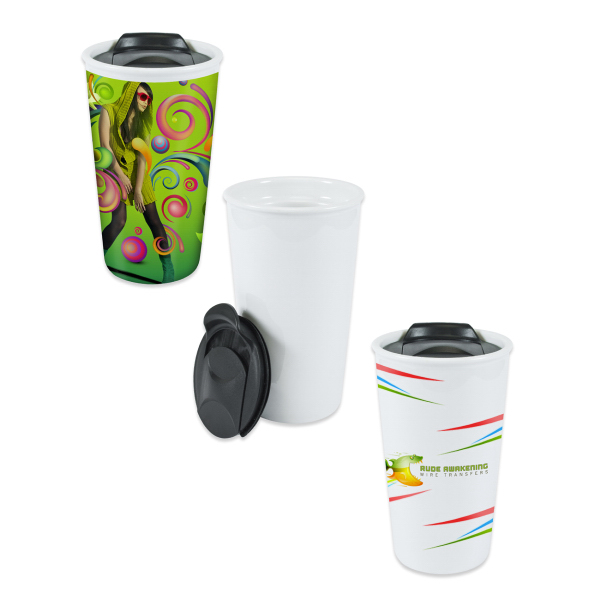 12 oz Ceramic Eco Tumbler w/ Black Lid