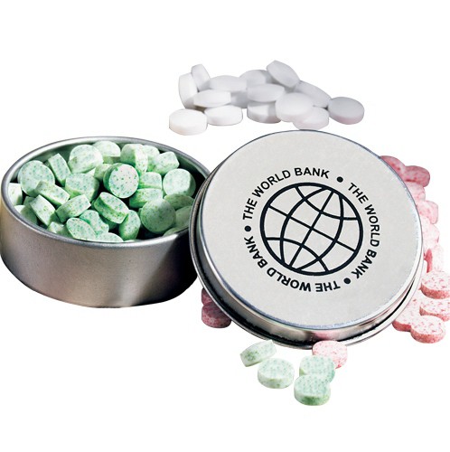 Sugar Free Peppermints in Mini Round Pocket Mint Tin