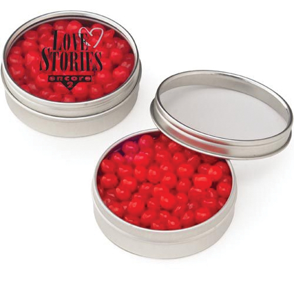 Small Clear Window Tin with Red Hots (R)