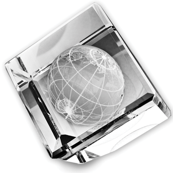 Customized Standing Crystal Cube (Globe)