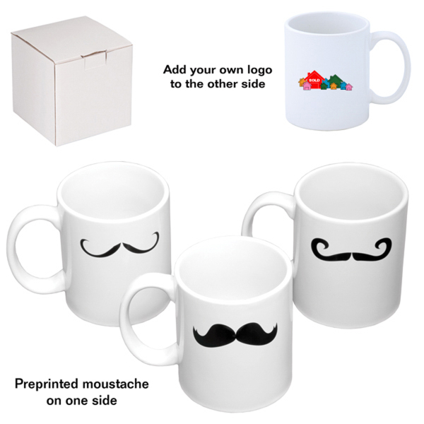 "Fuzion ""C"" Handle White Mug with Mustache"