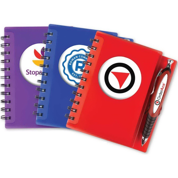Spiral Notebook with Pen and 4 Color Dome