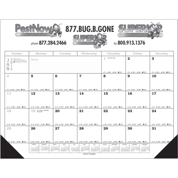 12 Month Calendar Desk Pad
