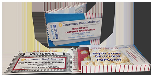 Customized BXC-470 Popcorn Ticket Pack