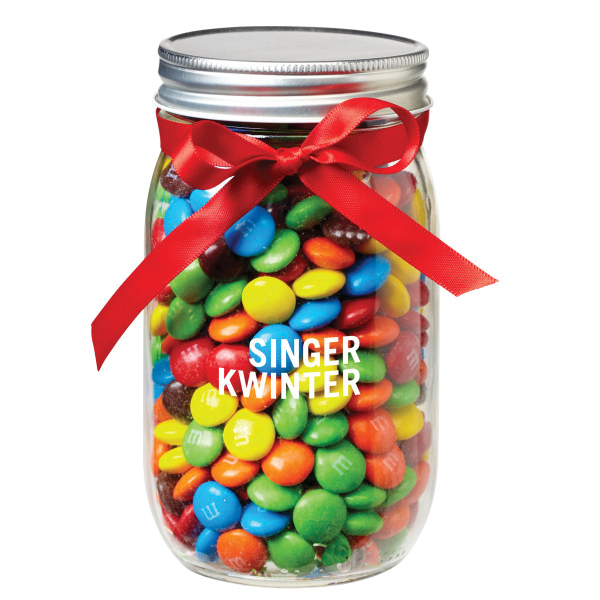 Glass Mason Jar with candy coated chocolates
