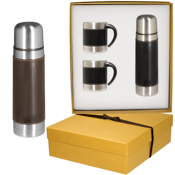 Empire (TM) Leather-Stainless Coffee Cup and Thermos Set