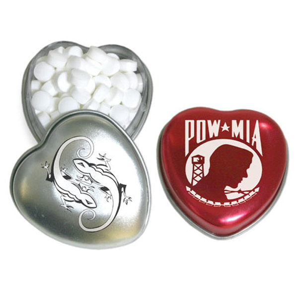 Heart Shaped Tin Box Small Pocket Size with Chocolate Mints