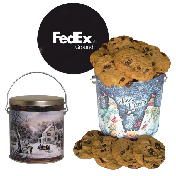 One Gallon Cookie Christmas Tin with Chocolate Chip