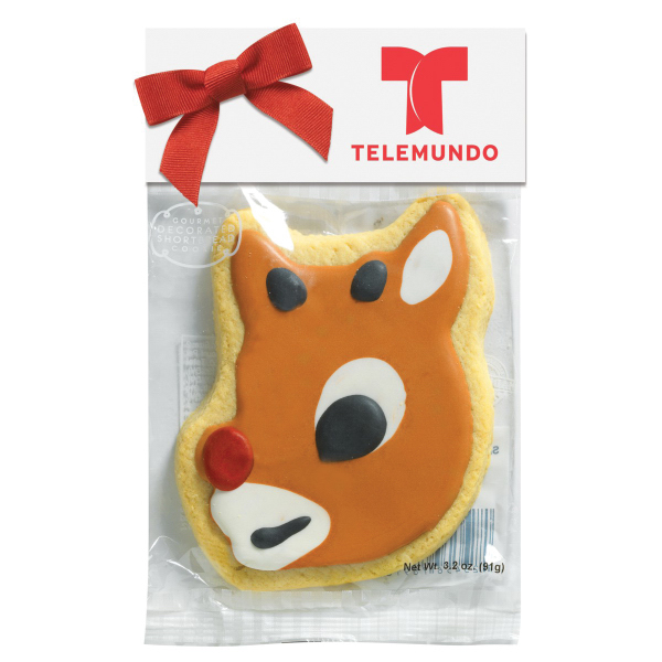 Decorated Shortbread Cookie in Header Bag - Reindeer