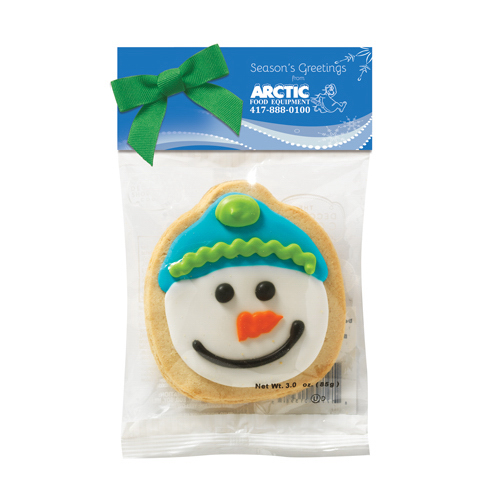Decorated Shortbread Cookie in Header Bag - Snowman