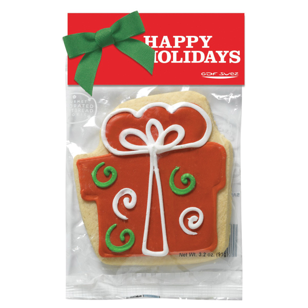 Decorated Shortbread Cookie in Header Bag - Present