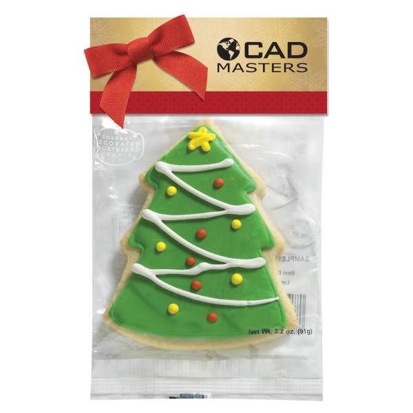 Decorated Shortbread Cookie in Header Bag - Christmas Tree