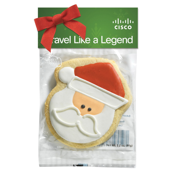 Decorated Shortbread Cookie in Header Bag - Santa Claus