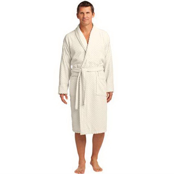 Port Authority(R) Checkered Terry Shawl Collar Robe