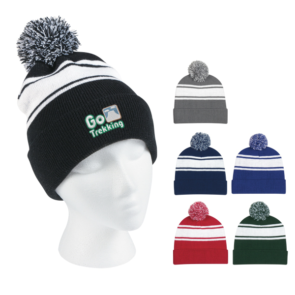 Knit Two Tone Knit Pom Beanie with cuff