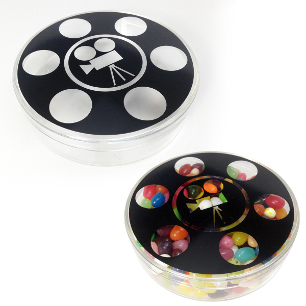 Plastic Movie Reel Round Shape Jar Container with Red Hots