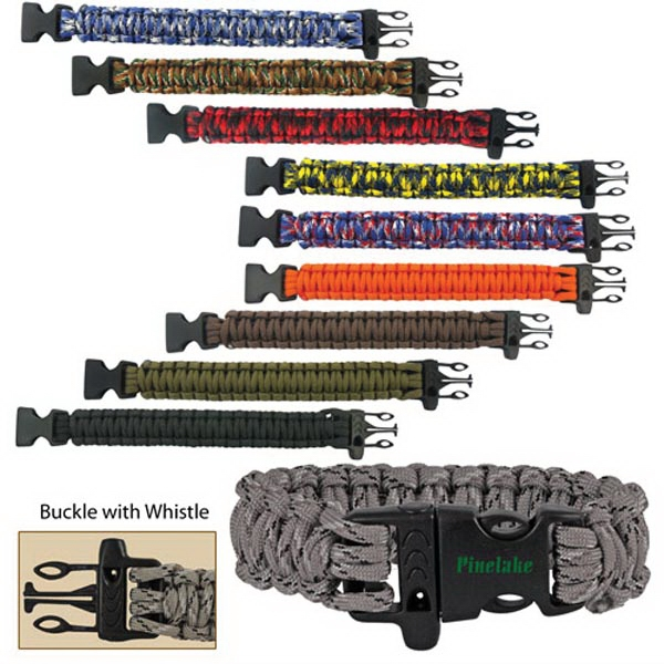 "9"" Paracord Survival Bracelet with Whistle"