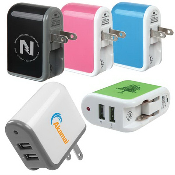Dual USB Travel Wall Charger (1A  & 2.1A output)