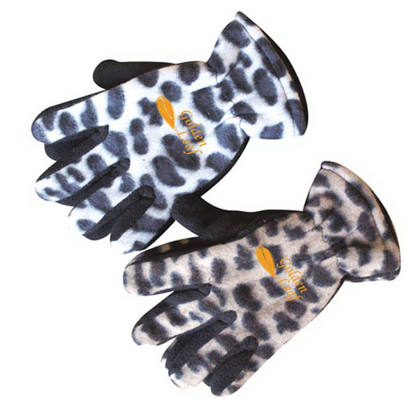 Assorted Color Leopard Pattern Fleece Glove