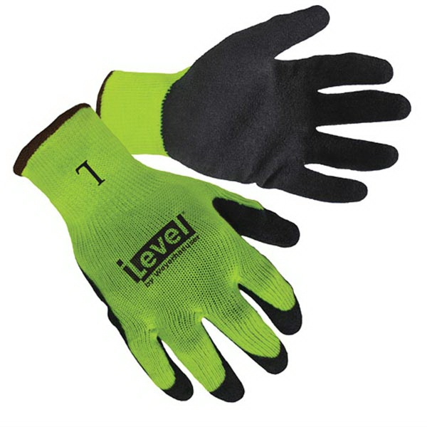 Hi-Viz Lime Textured Latex Palm Coated Gloves