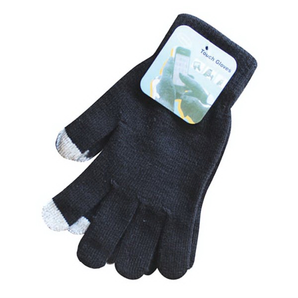 Black Stretchable Gloves With Telefingers