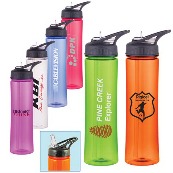 25 Oz Acrylic Sports Bottle with Straw