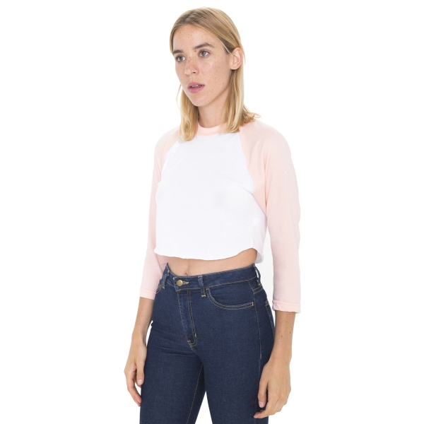 Poly-Cotton Cropped 3/4 Sleeve Raglan Shirt