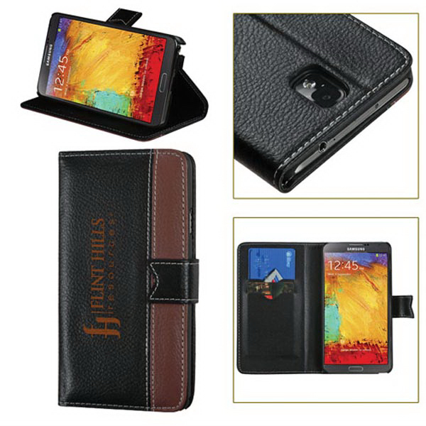 Book Style 2-Tone Pebble Synthetic Leather Case for Samsung
