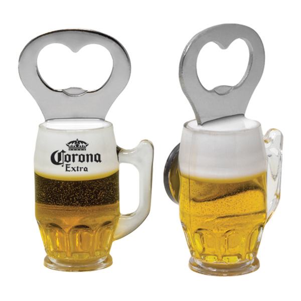 BEER MUG BOTTLE OPENER W/MAGNET