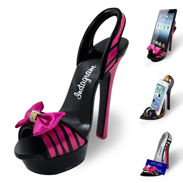 HIGH HEEL PHONE / TABLET STAND - PINK ZEBRA SANDAL