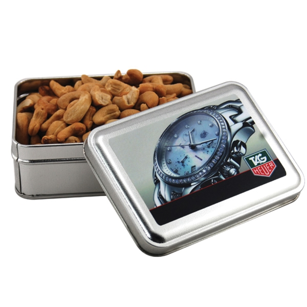 Cashews in a metal gift box with lid