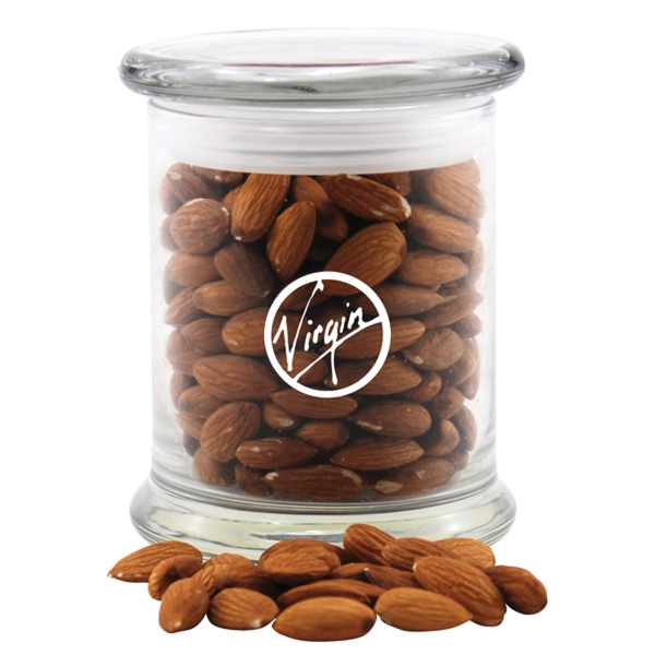 Almonds in a Large Round Glass Jar with Lid